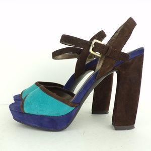 BANDOLINO Brown & Blue Suede Open Toe Strappy  6 M